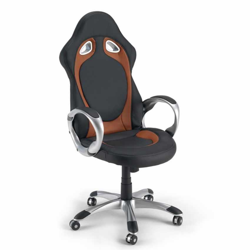 Chaise de bureau sport fauteuil gamer ergonomique simili cuir RACE - scontato